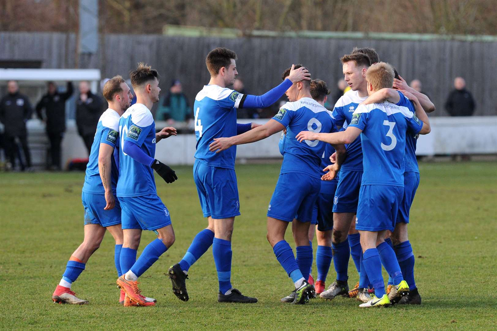 Bury Town celebrating a goal against Basildon United in their 4-2 home win of the 2018/19 season. Picture: Mecha Morton