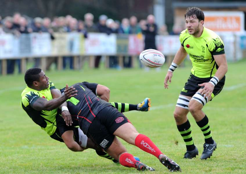 RUGBY - Bury St Edmunds v Redruth''Pictured: Sailasa Vunivesilevu and Matt Edison ANL-161015-194533009