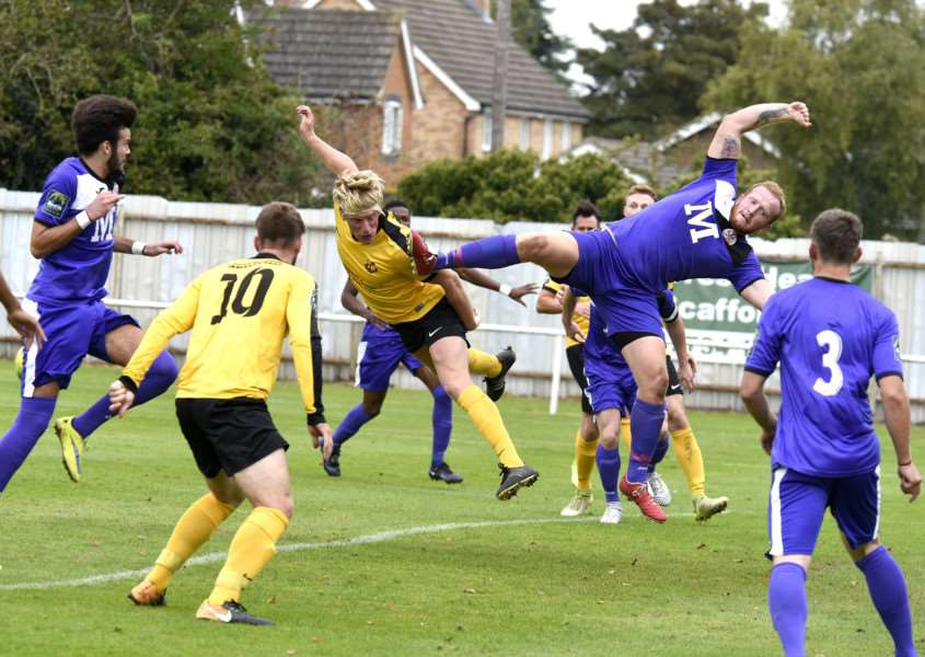 BODY ON THE LINE: Ruddy challenges for the ball against Tilbury earlier this season