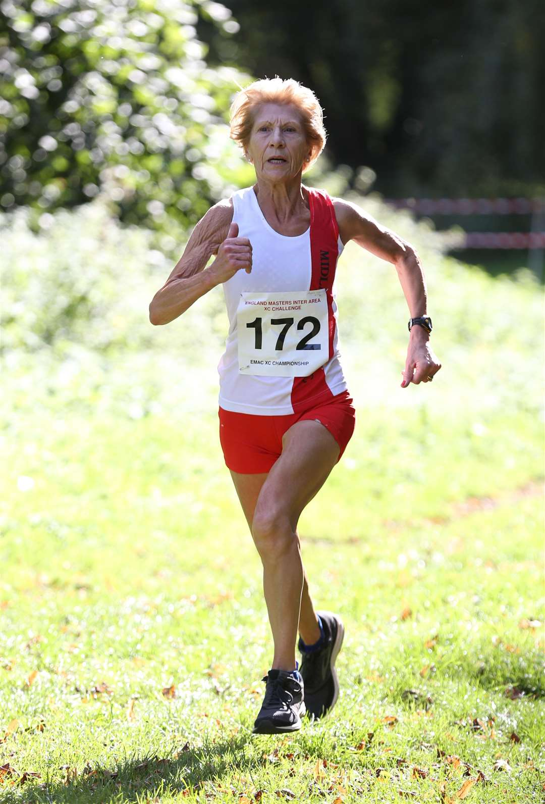 Race 1 at the England Masters Inter-Area X-Country championships held at Nowton Park in Bury St Edmunds - Angela Coulson competes in the Over 70s category..Pic - Richard Marsham. (4579985)