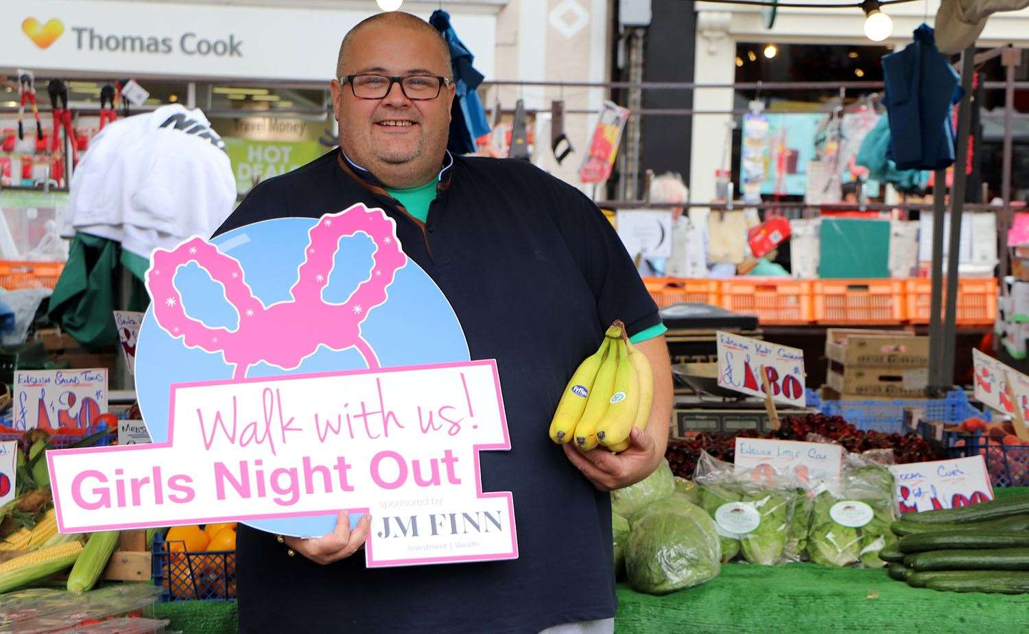 Tony Wilson, who works on a fruit and vegetable stall on the Bury St Edmunds market is donating bananas to Girls Night Out.