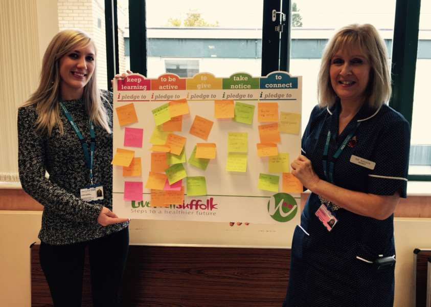 Midwife Sue Augusta (right) and her daughter, Jessica Augusta, made pledges to take steps towards a healthier lifestyle during West Suffolk Hospital's Pledge Week. ANL-150212-153506001