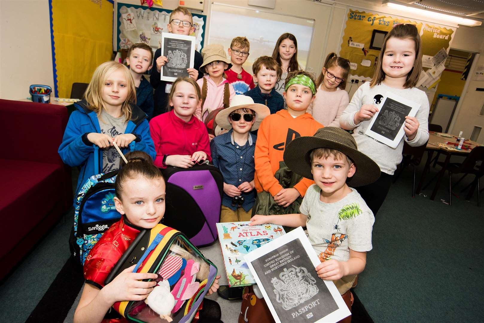 Ixworth Primary School simulated an airport event where children arrived at school with a suitcase and suitably dressed for a special destination. Picture: Mark Westley.