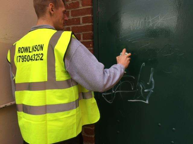 Rowlinson Commercial removing graffiti in Bury St Edmunds last week for the Business Improvement District Our Bury St Edmunds and the Town Council. Picture: Rowlinson Commercial.