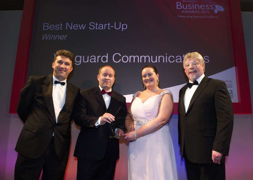Bury Free Press Business Awards 2015 hosted by Simon Weston''Pictured: Best New Start Up - presented by Alistair Ponder (Chairman of MENTA) - Vanguard Communications ANL-151010-020248009