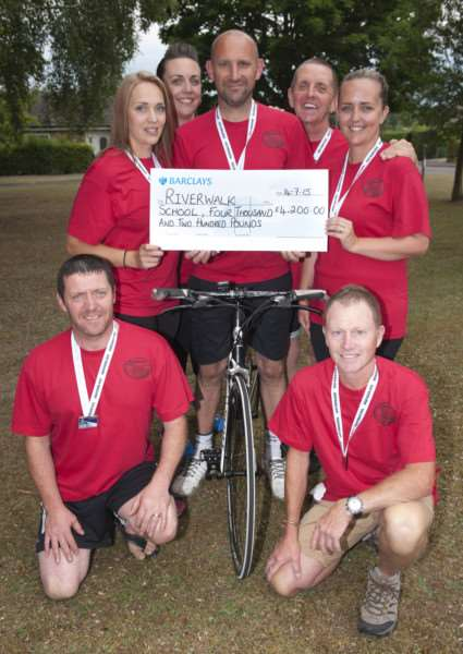A group of fund-raisers undertook a night time cycle challenge, Nightrider, in aid of Riverwalk School in Bury. 'Carly and Barry Wharf, Jodie and Paul Hughes, Richard Bennett, David Norton and Samantha Carrick. ANL-150714-202450009