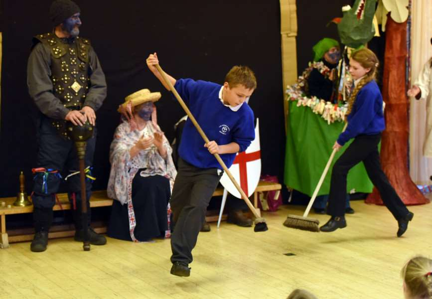 The Northwold Mummers join pupils from The Norman school for Ploughday Monday ANL-161101-182828009