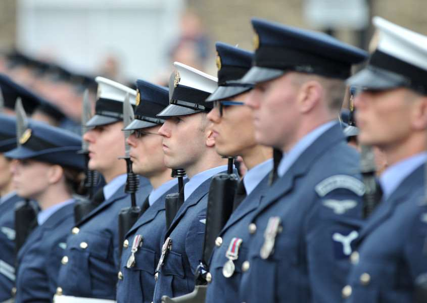 For the first time, the white caps of Number 3 Police Wing were among the RAF Honington contingent at the parade ANL-150811-230903009