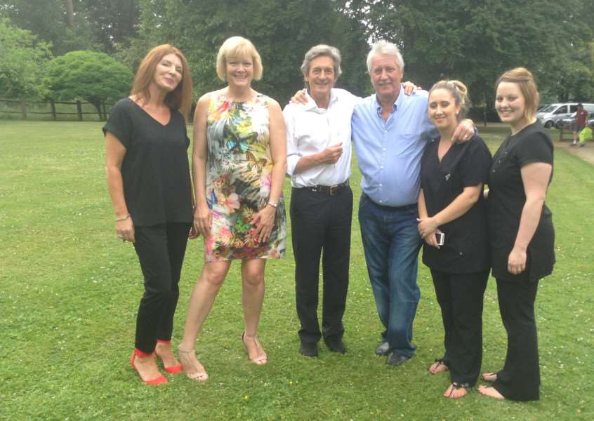 Actor Nigel Havers visits Nowton Court Village filming for BBC's Your Life on a Plate. Pictured are Lisa Eady, receptionist, Rosemary Lawson, care support manager, Nigel Havers, Brian Turner, Rebecca Morgan and Natalie Proctor, beauty therapists
