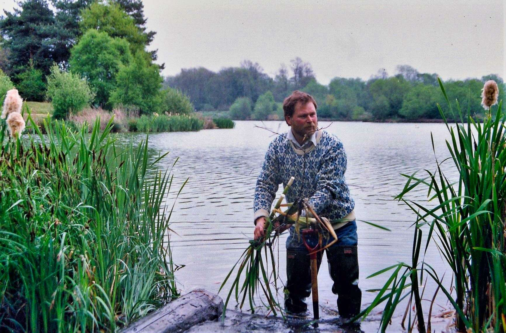 West Stow CP Lake in 1991. John Hosking building fishing platforms for disabled anglers. Picture: Chris Boughton