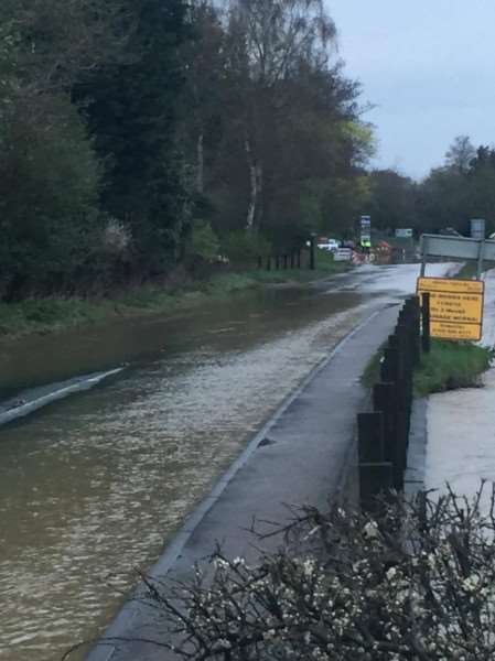 The A134 was shut near Bury St Edmunds last night due to flooding - PHOTO- Tom Large