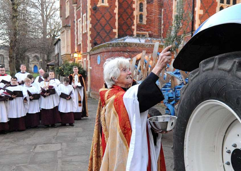 Plough Sunday Service at St Edmundsbury Cathedral Pictured: The Revd Canon Sally Fogden, Agricultural Chaplain PICTURE: Mecha Morton