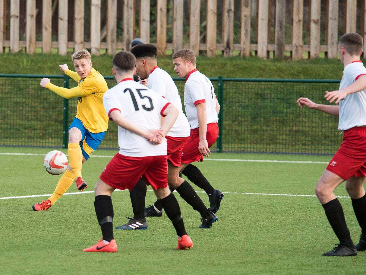 HOME DEFEAT: Lewis Whitehead goes for goal during Newmarket's defeat to Stanway. Picture: Mark Westley