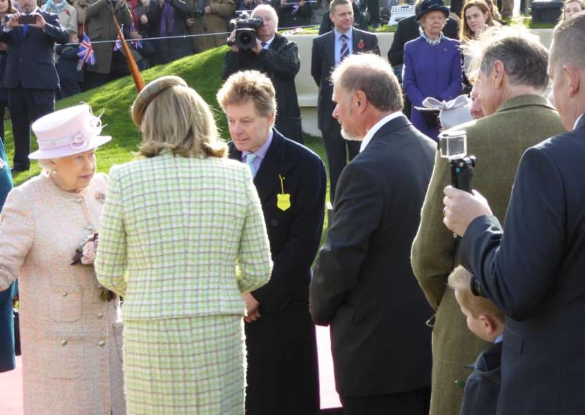 John Hosking facing Her Majesty having just been presented by the Hon Frances Stanley of the New England Stud. Picture courtesy of John Hosking. ANL-160311-153005001