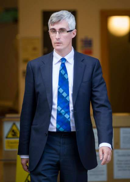 Dr Myles Bradbury leaving Cambridge Crown Court