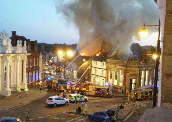 The scene in Sudbury this evening as fire crews tackle the blaze. Picture courtesy of @MikeOnslow