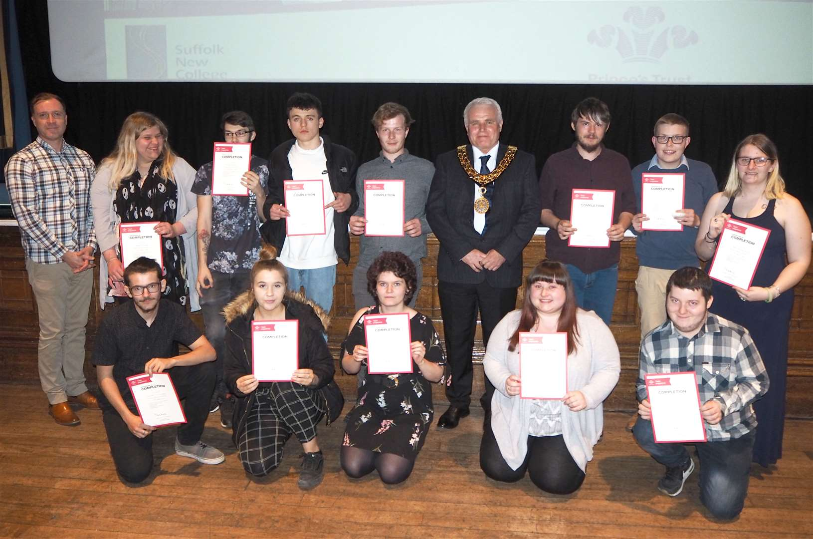 The Inspire Suffolk Prince's Trust Haverhill team receive their certificates. They were joined by the mayor of Haverhill, Cllr Tony Brown. Contributed picture.