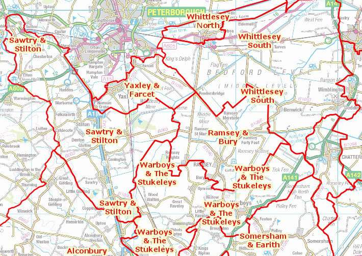 Some of the proposed new boundaries for Cambridgeshire County Council wards