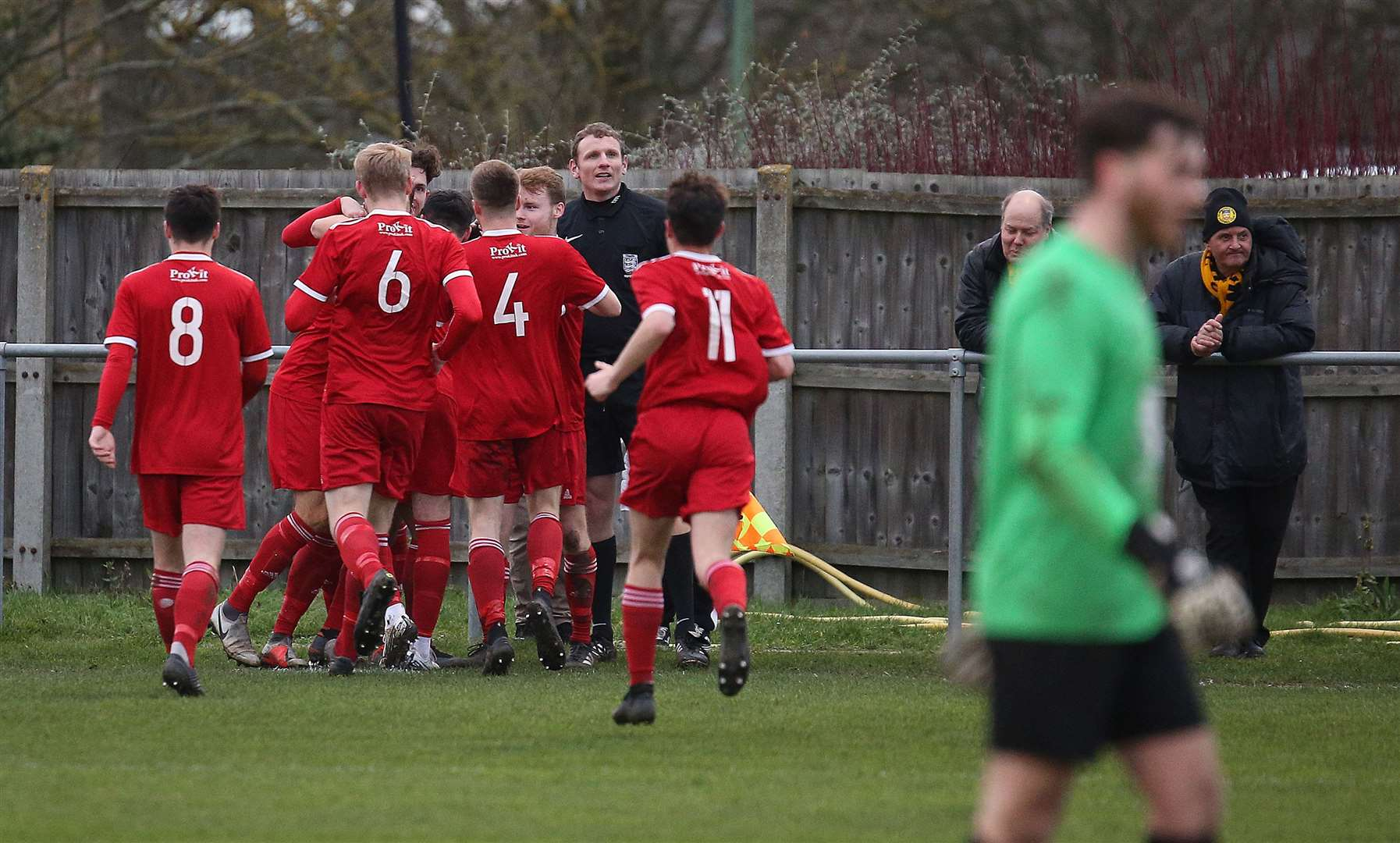 Haverhill Rovers v Stowmarket Town - Haverhill celebrate a goal.Pic - Richard Marsham/RMG Photography. (25914841)