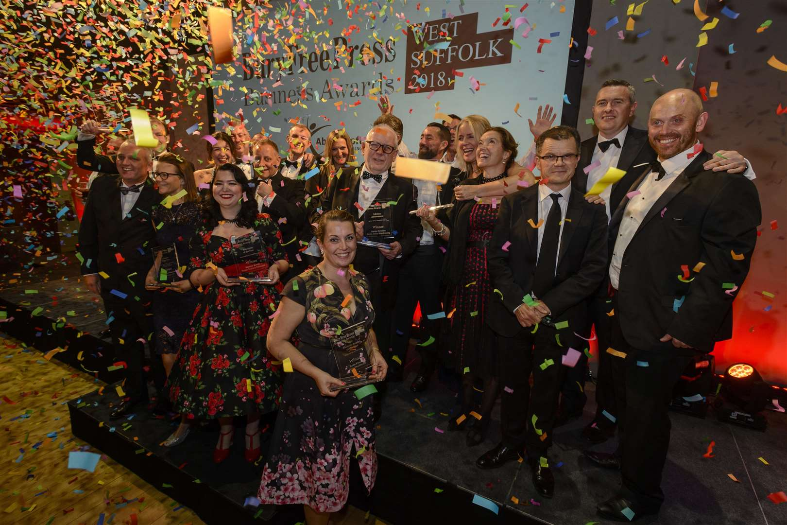 Bury St Edmunds, Suffolk, UK, 12 October 2018Winners of the Bury Free Press Business Awards 2018 on the stage at the end of the awards evening.Picture: Mark Bullimore Photography (4770070)