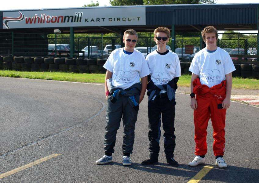 RACE ACES: Thomas Gainsborough School pupils George Parker, Joe Hurrell and Alex Ruth who competed in the British Schools Karting Championship