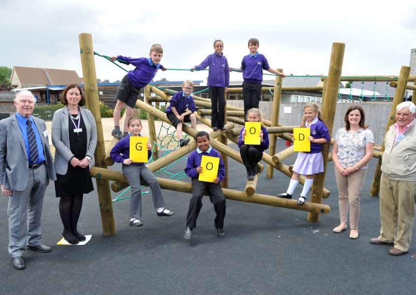 New play facilities at Lakenheath Primary School which has been rated good by Ofsted''Pictured: Pupils along with Horry Prason (Trustee from the Gowards and Evans Charity), Head Teacher Emma Vincent, Laura Williams (Trustee) and Robert Rolph (Trustee) ANL-150623-081458009