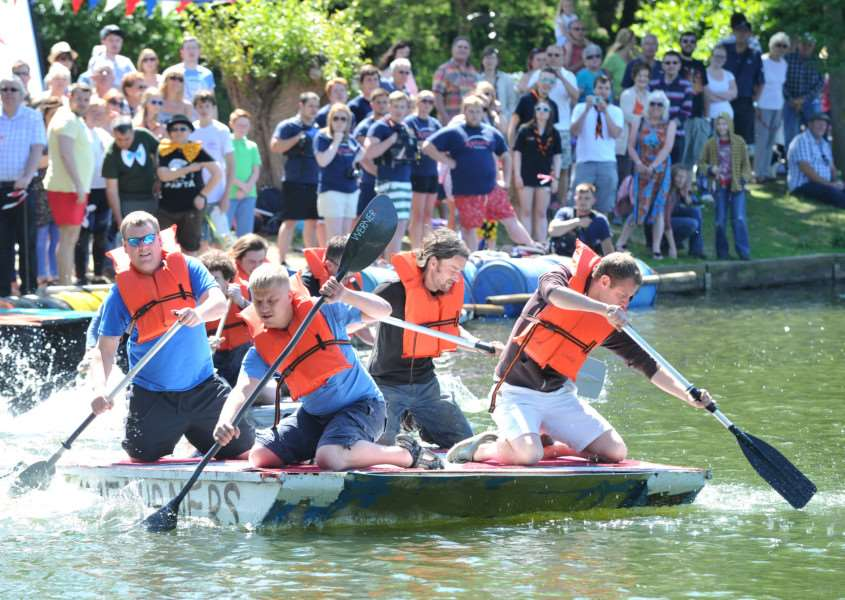 Needham Market Raft Race''2015 Pictured: Limburners ANL-150806-084158009
