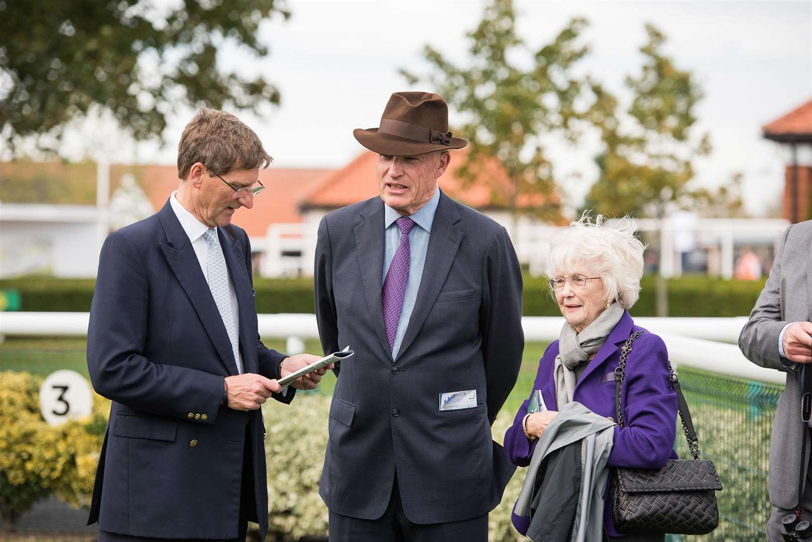 Dubai Future Champions meeting Newmarket Rowley Mile Trainer John Gosden with Patricia Thompson owner of Cheveley Park Stud with Chris Richardson.Managing Director and John Marsh.Senior ManagerPicture Mark Westley. (7553244)