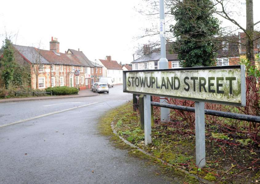 Stowupland Street in Stowmarket were two bodies have been found in a house