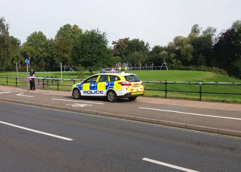 Police cordon near West Suffolk College, in Out Risbygate, Bury St Edmunds