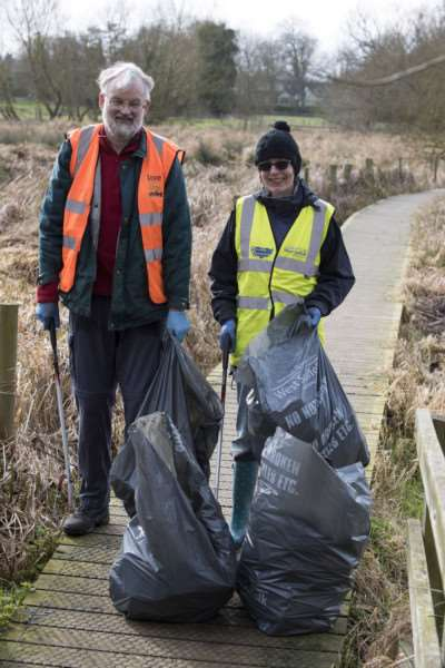 Great British Spring Clean 'Janice Edwards and Malcolm Boura from Barton Mills on their village's side of the Lark Bridge