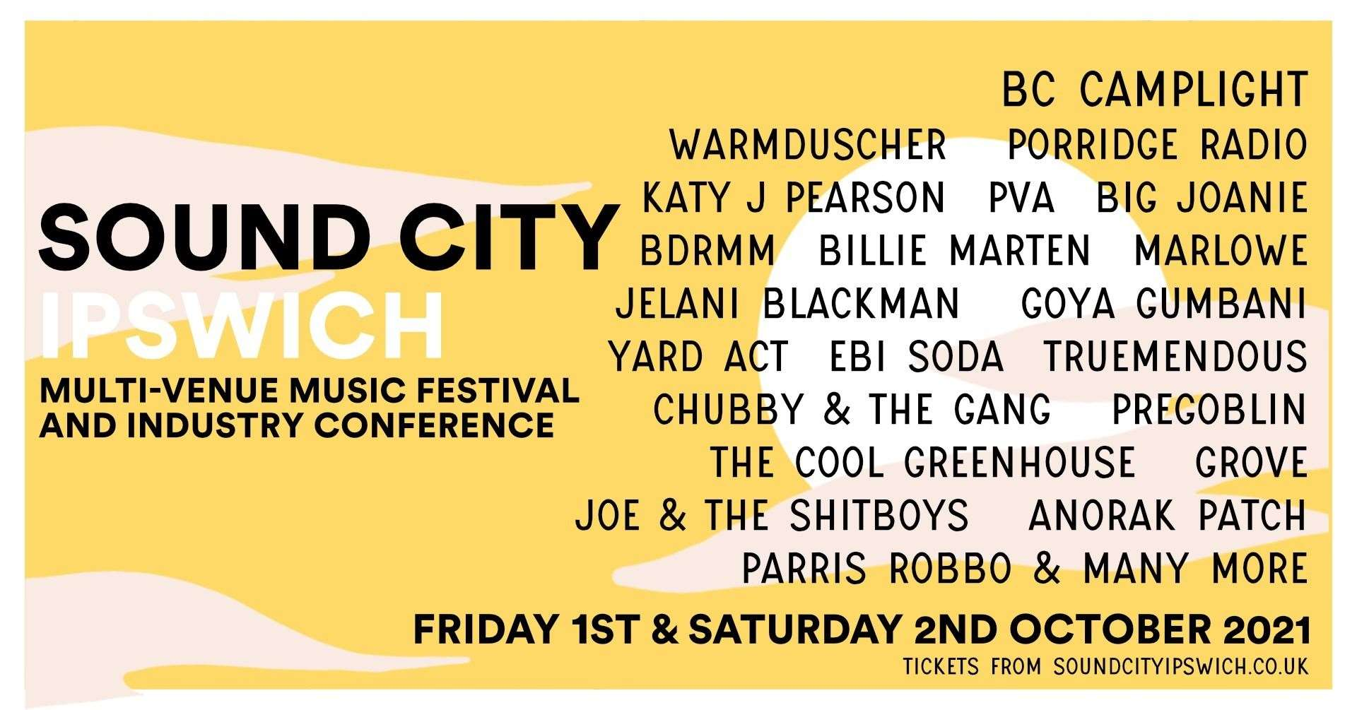 The line up poster for Sound City Ipswich 2021 Picture: Sound City Ipswich