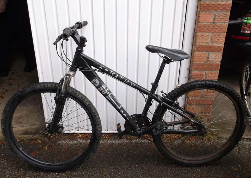 Police are looking for the owner of this black X-rated bicycle. ANL-150629-152848001