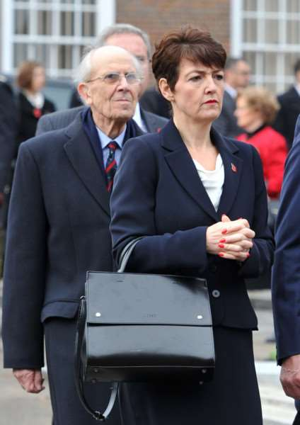 Bury's new: MP Jo Churchill stands in front of Tory and service veteran Lord Tebbit who was an RAF jet fighter pilot ANL-150811-231837009