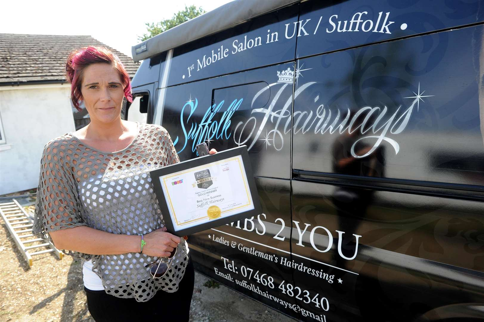 Tanya Simpson has won the Best New Business category in the UK Hair and Beauty Awards (London and East of England region)..Called Suffolk Hairways, it is the UK's only salon on wheels, and was started in Oct 2016....PICTURE: Mecha Morton. .. (3490265)