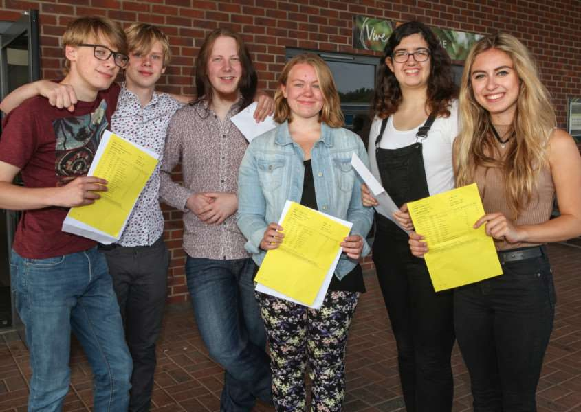 Samuel Ward Academy students, from left: Tom Quarrell, Kier Beasley, Nathan Bowd, Imogen Cottage, Steph Berry and Millie Iron are happy with their impressive A level results. Picture: Russ Bennett. ANL-160818-134424001
