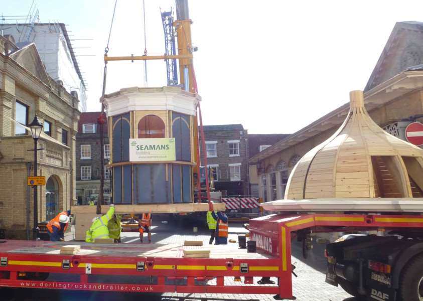 DELAY: The iconic cupola was lifted on to Cupola House, in Bury St Edmunds, in May