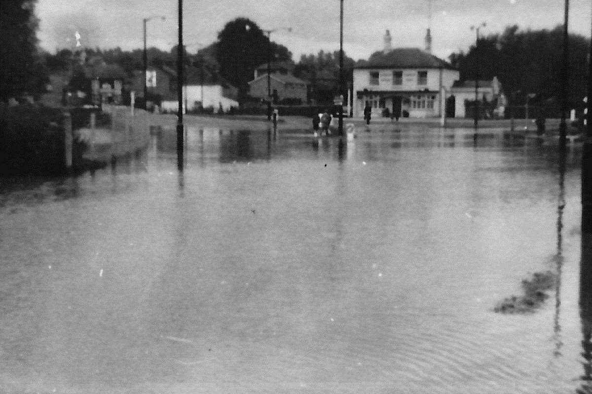 Flooding of 1968 - Spread Eagle Junction, Bury St Edmunds. Photograph by Michael Smith (40723667)