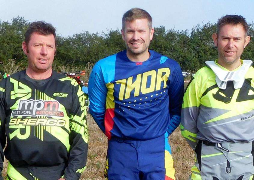 WINNING TRIO: Dean Curry (Clubman Veteran Class), Kevin Palmer (Expert Class) and Michael Ridge (Expert Veteran Class)