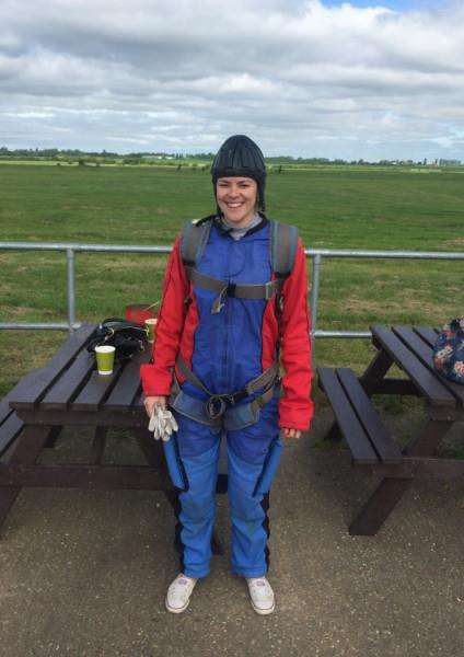 Natalie Whybrow completed a skydive to raise money for a new community defibrillator at Sudbury Rugby Club.