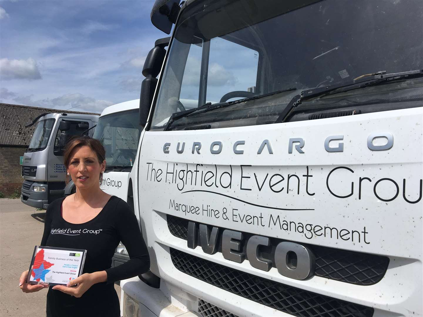 Claire Rigarlsford-Chapman, director of sales and event management at the Highfield Event Group, pictured with their award