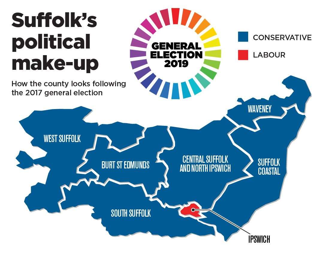 The General Election 2017 results map for Suffolk