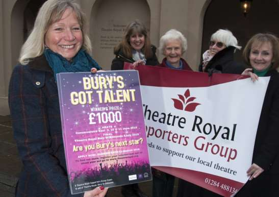 Launch of Bury's Got Talent competition at The Theatre Royal Bury, Jacqui Laider Claire Austin, Susan Ward, Hazel Jackman and Vivien Gainsborough Foot of Theatre Royal Supporters Group. ANL-150402-235916009