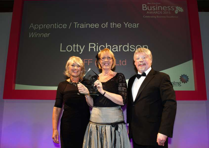 Bury Free Press Business Awards 2015 hosted by Simon Weston''Pictured: Apprentice/Trainee of the year presented by Jane Vincent (CEO WS Training) - Lotty RIchardson (note - someone accepting on her behalf) ANL-151010-020152009