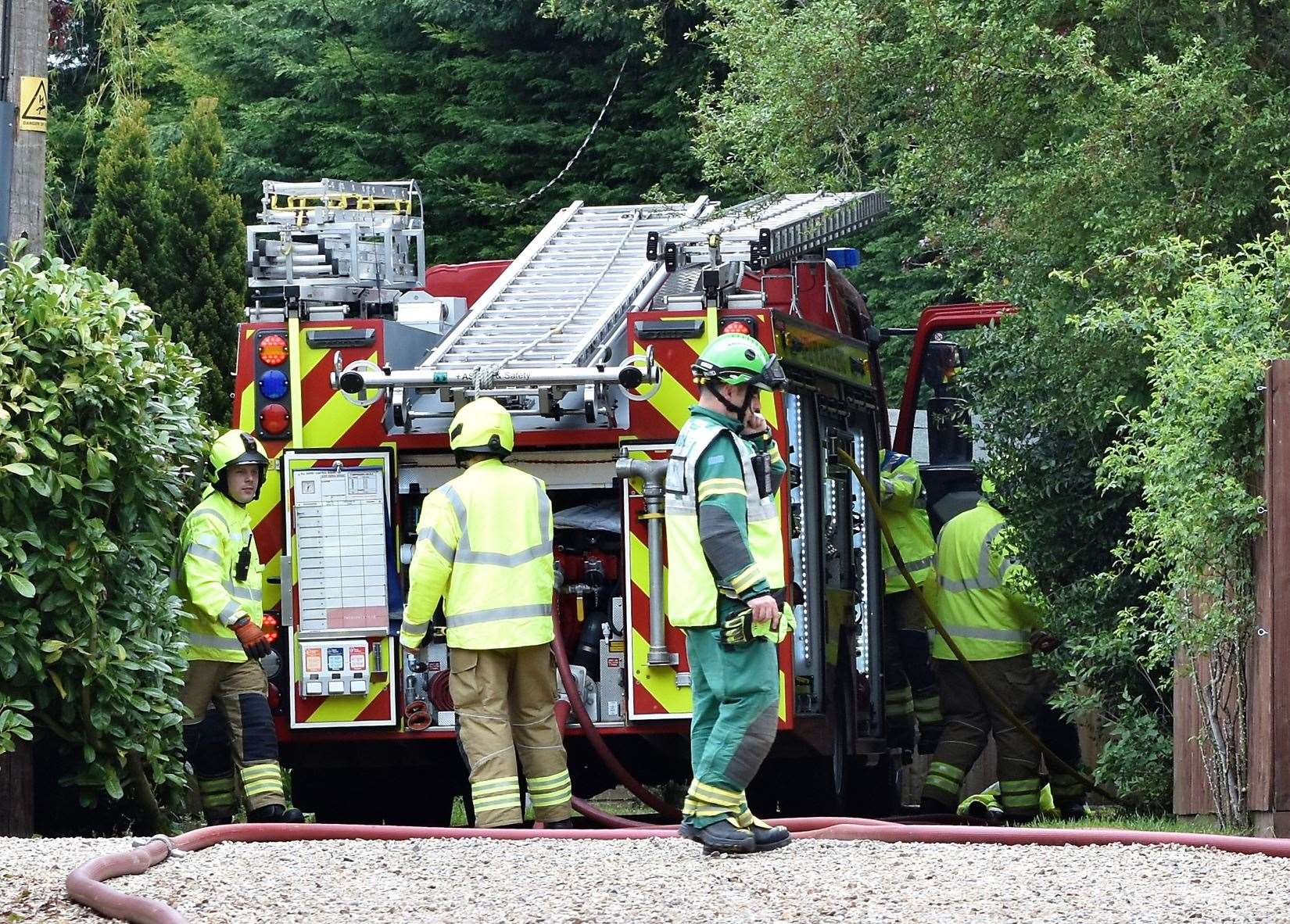 Firefighters on the scene of the Lidgate blast in May