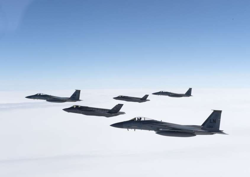 Two F-35A Lightning IIs from the 388th Fighter Squadron and three F-15C Eagles from the 493rd Fighter Squadron, RAF Lakenheath. (U.S. Air Force Photo/Tech. Sgt. Roidan Carlson)