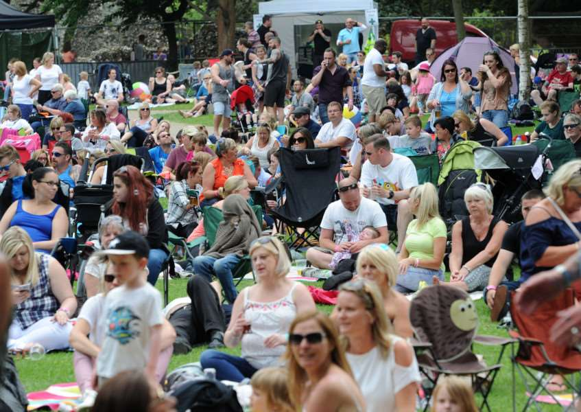 Crowds at last year's Nearly Festival in the Abbey Gardens, Bury