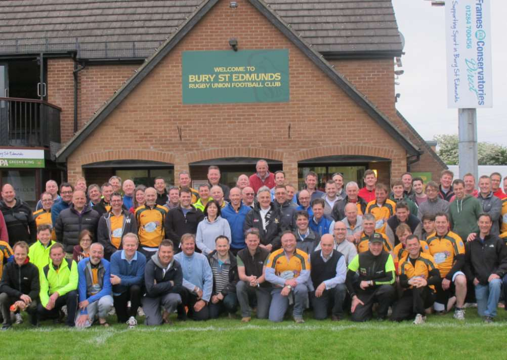 Bury Rugby Club's Memorial Cycle Ride cyclists and supporters before they left for France ANL-140705-123148001