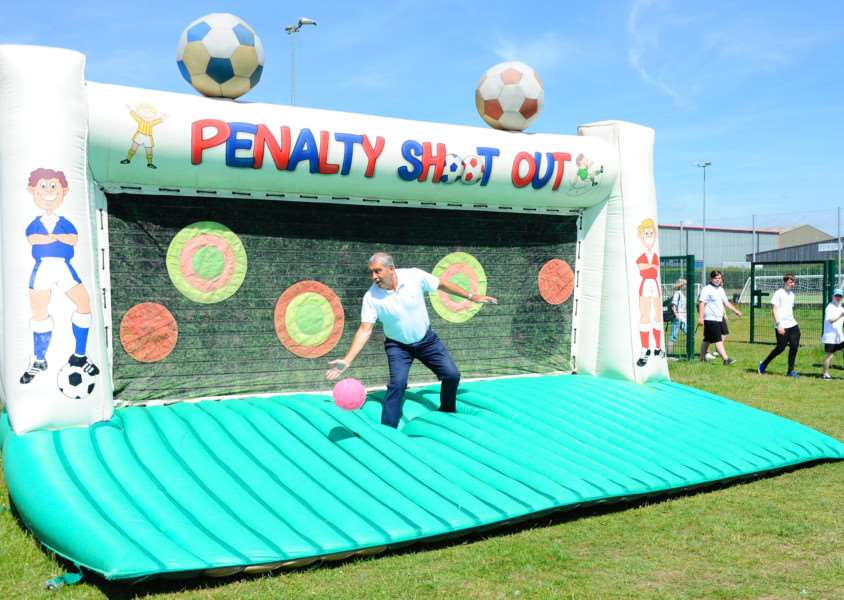 Former England footballer Peter Shilton in goal at the penalty shoot-out
