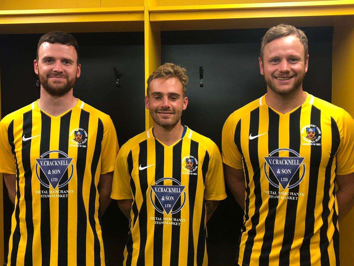 NEW SIGNINGS: Ollie Canfer, Scott Chaplin and Sam Nunn in the new Stowmarket Town kits for 2018/19 Picture: Stowmarket Town (3004005)